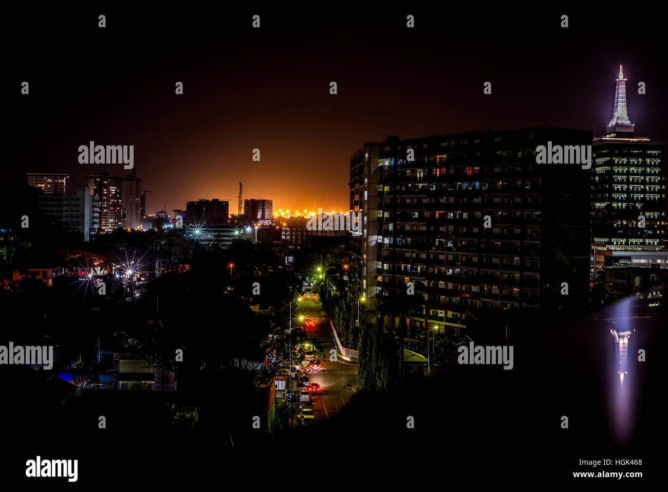 A night view of the 1004 Housing Estate, Lagos - Stock Image
