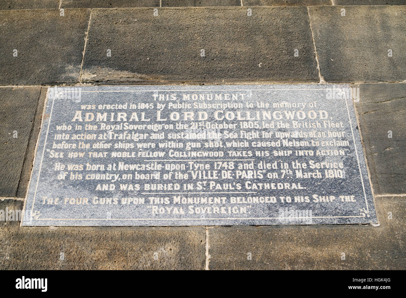Plaque on the Admiral Lord Collingwood memorial statue at Tynemouth, North Tyneside, England, UK Stock Photo
