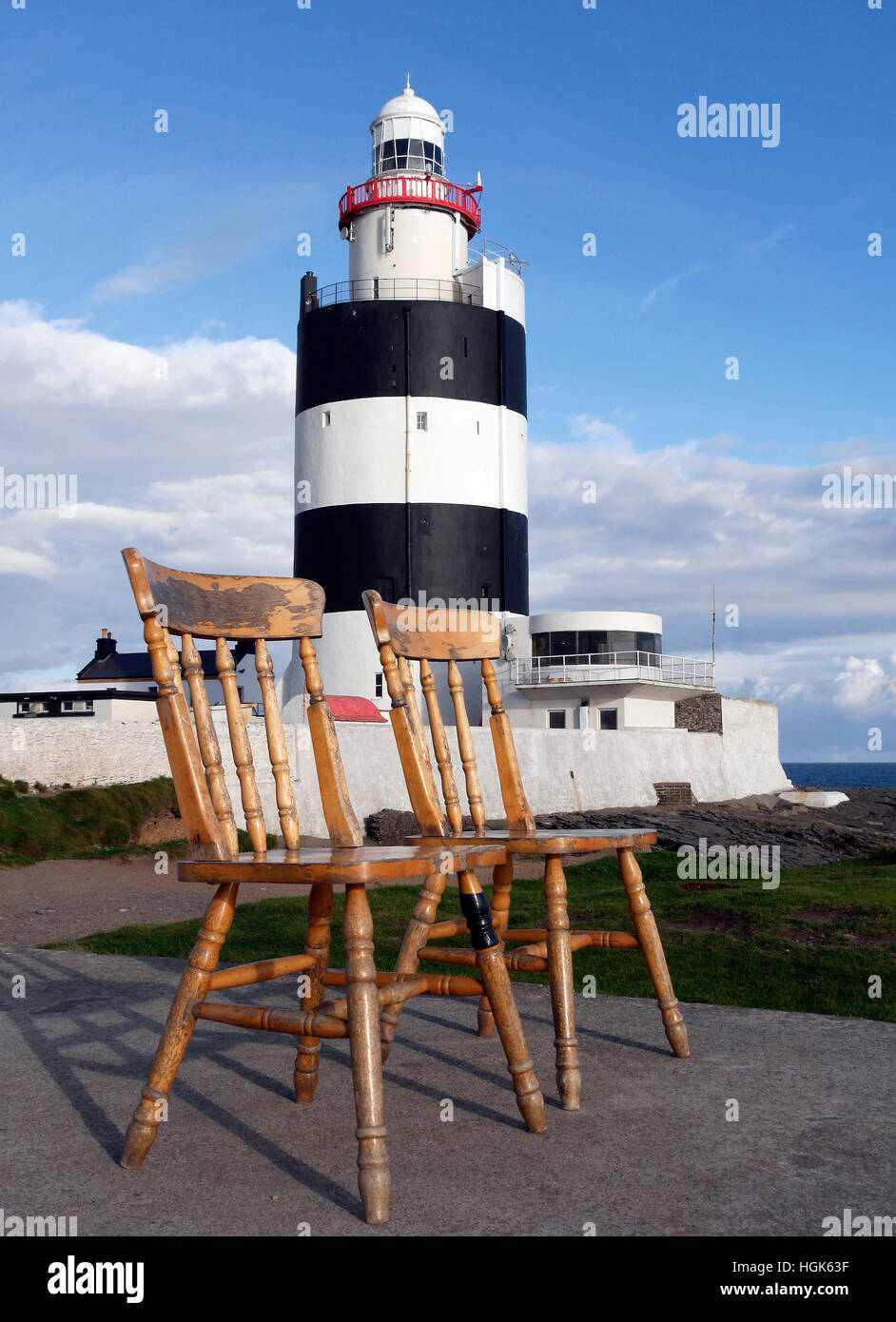 The 2 chairs, Hook Lighthouse, County Wexford, Ireland - Stock Image
