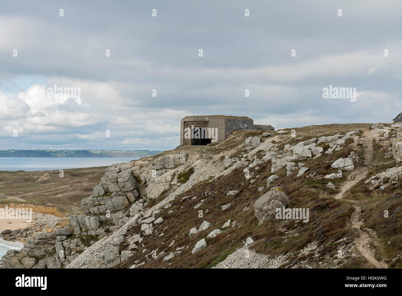 German World War II Bunkers at Crozon, Brittany, France - Stock Image