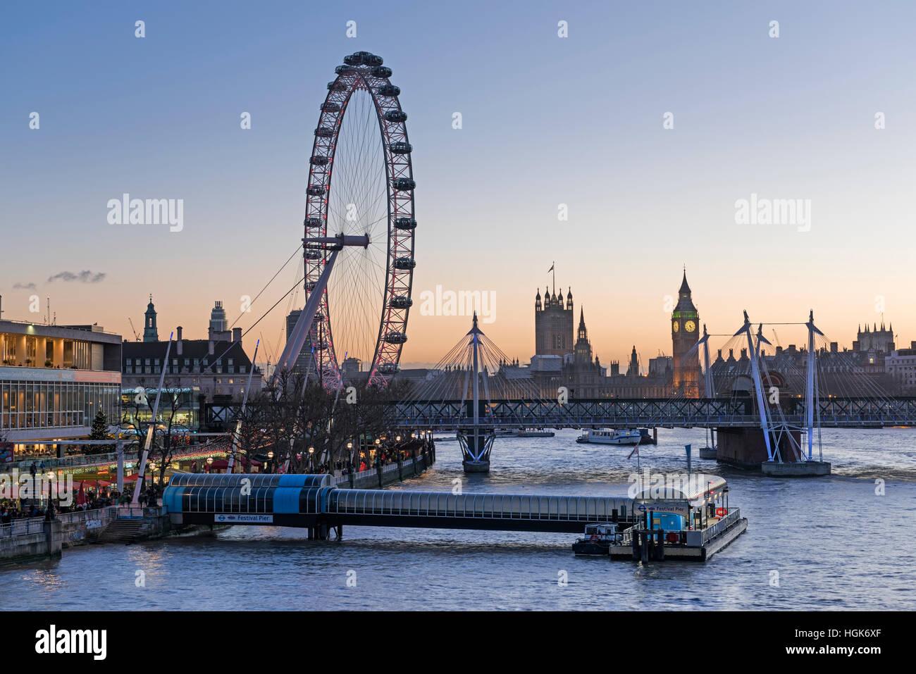 River view. London Eye and Big Ben. Southbank London UK Stock Photo