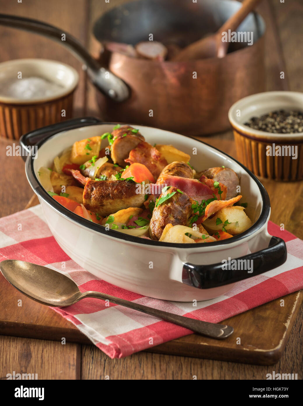Dublin coddle. Traditional Irish potato, sausage, and bacon stew. Food Ireland - Stock Image