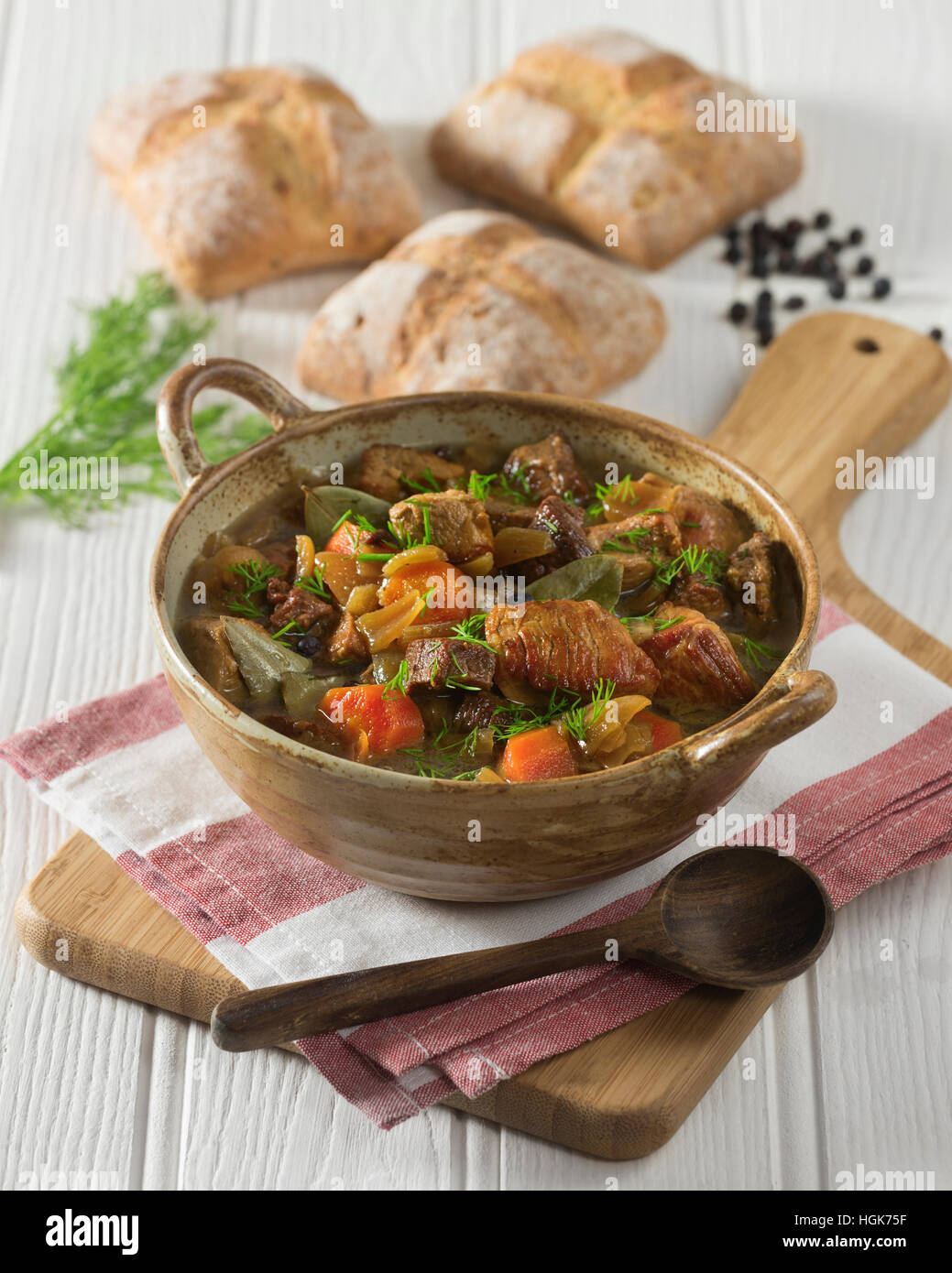 Karelian stew. Finnish hotpot. Finland Food - Stock Image