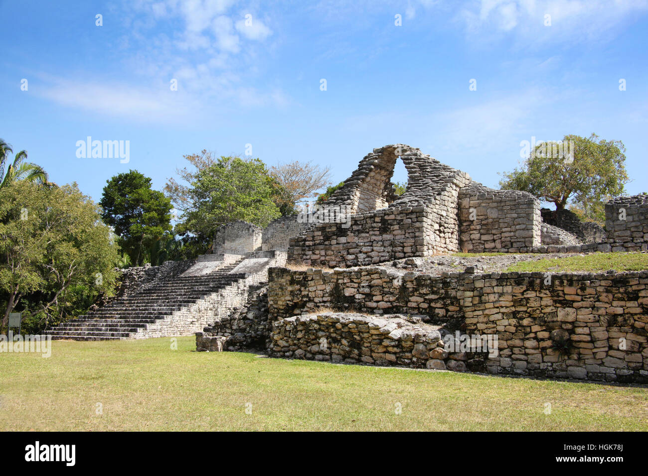 Kohunlich is a large archaeological site of the pre-Columbian Maya civilization, Yucatán Peninsula, Quintana - Stock Image