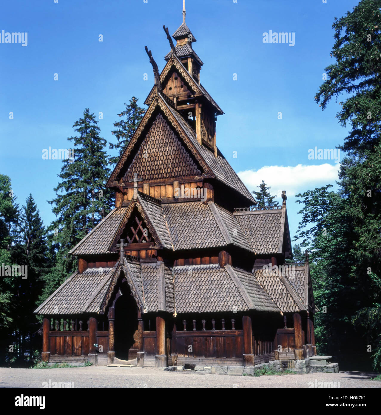 Medieval  Stave church in Norway - Stock Image