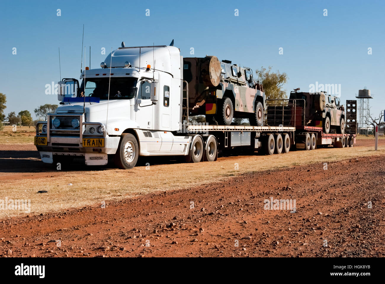 Road train in the Australian outback - Stock Image