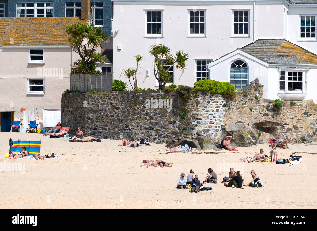 The harbour beach at St.Ives in Cornwall, England, UK Stock Photo