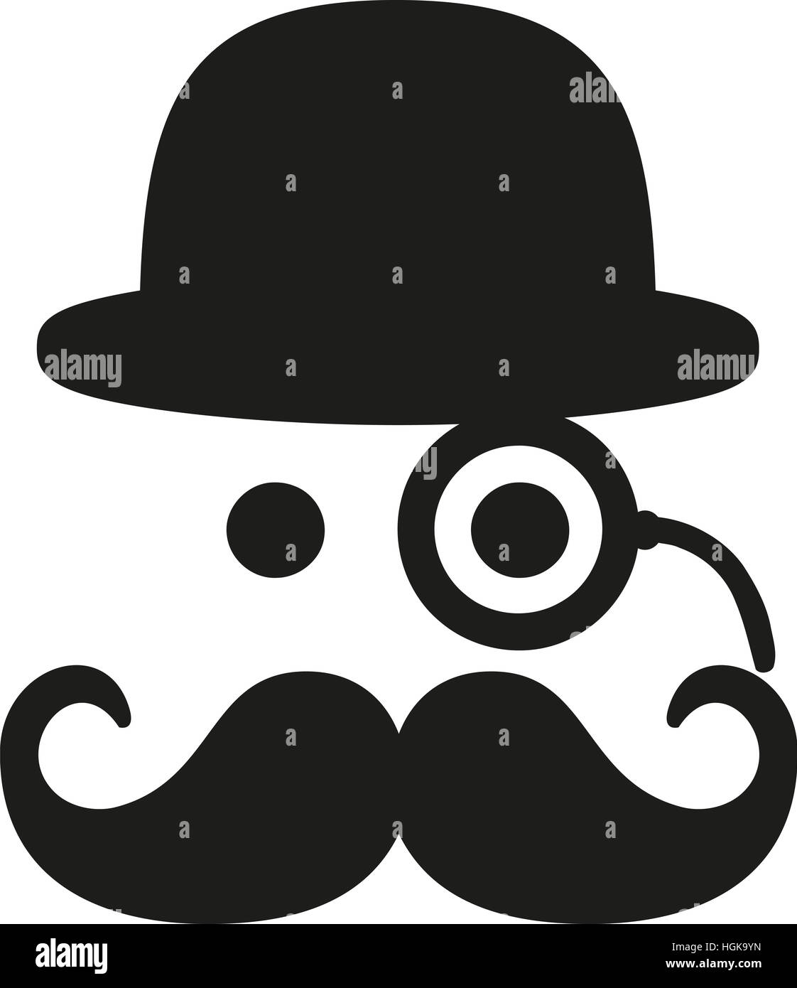 Mustache with eye monocle and bowler - Stock Image