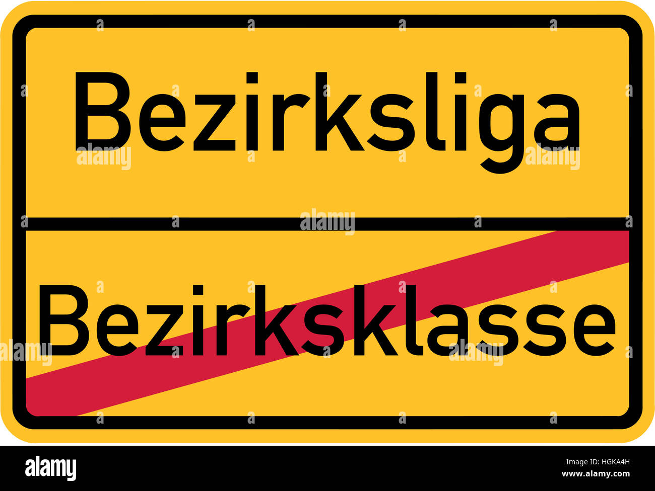 Promotion from regional division to regional league - german village sign - Stock Image