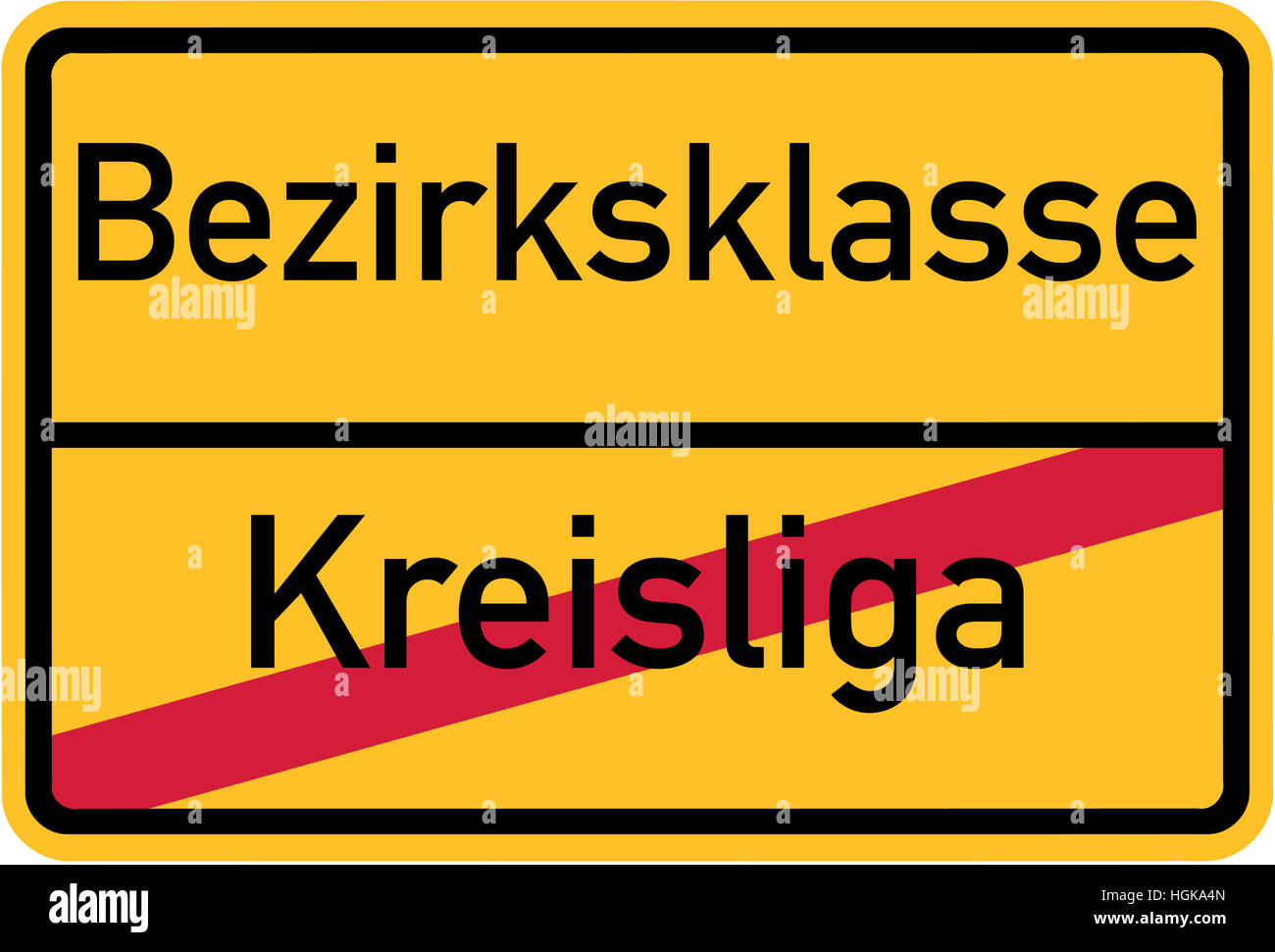 Promotion from district league to regional division - german village sign - Stock Image