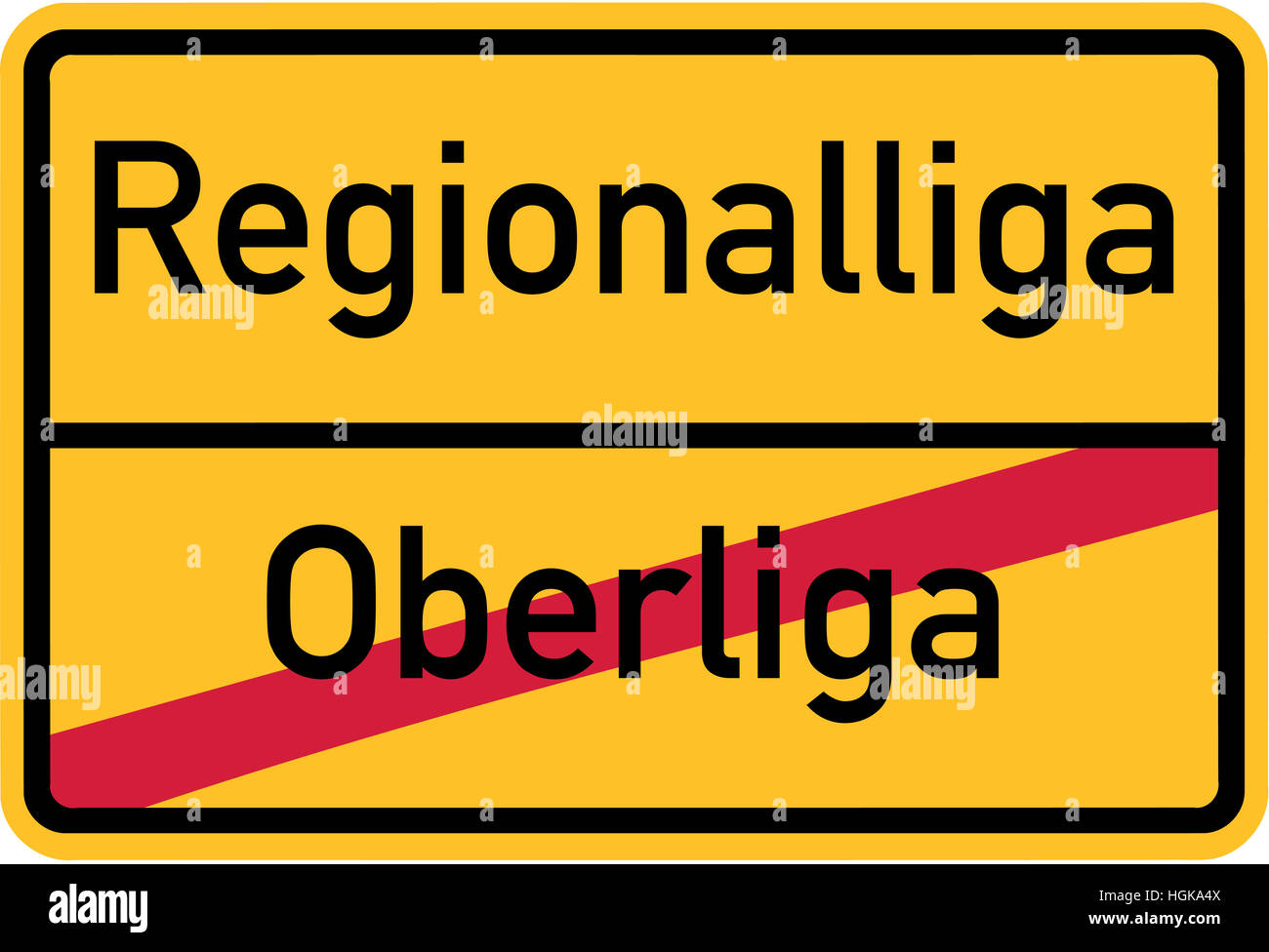 Promotion from upper league to regional league - german village sign - Stock Image