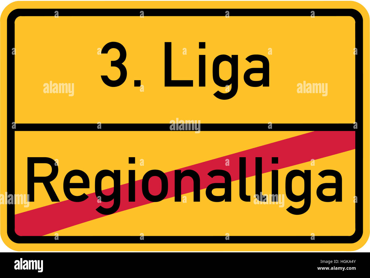 Promotion from regional league to third league - german village sign - Stock Image