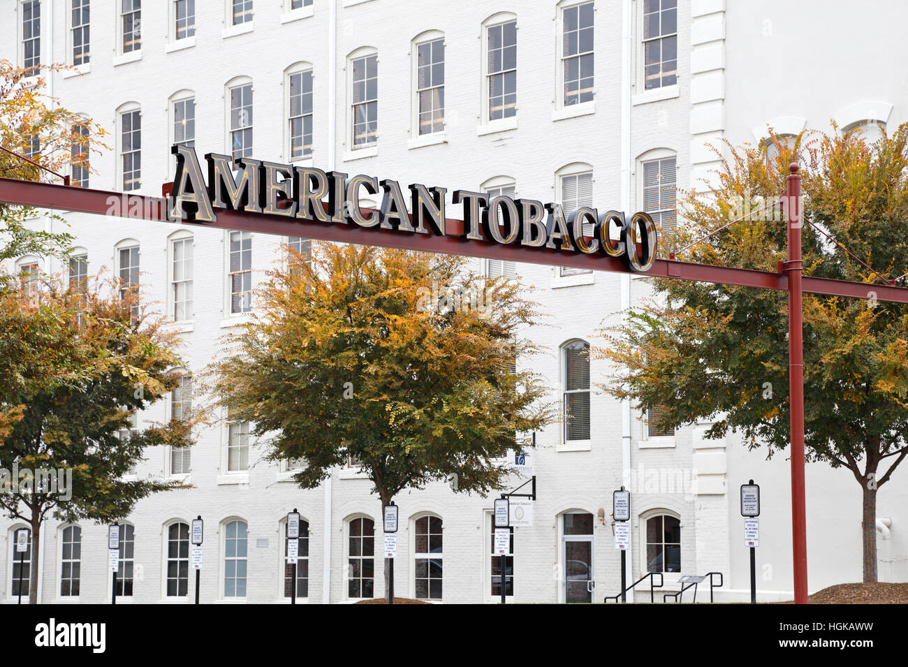 American Tobacco Warehouse district, Durham, North Carolina. Old tobacco factories converted into business space. - Stock Image