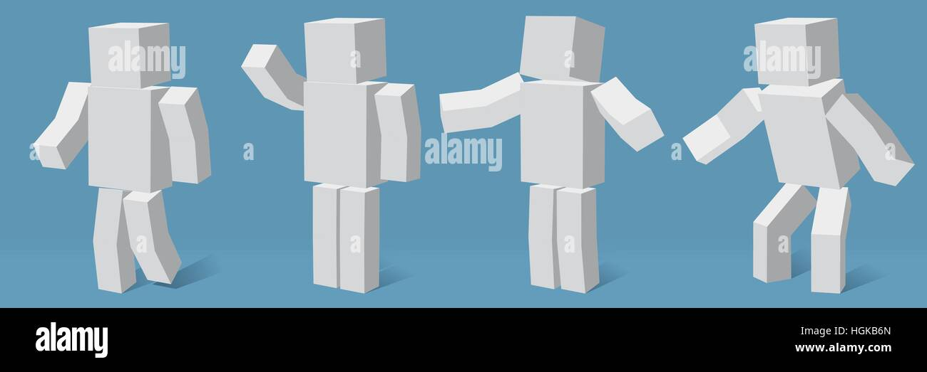 cubic character in four different poses. - Stock Image