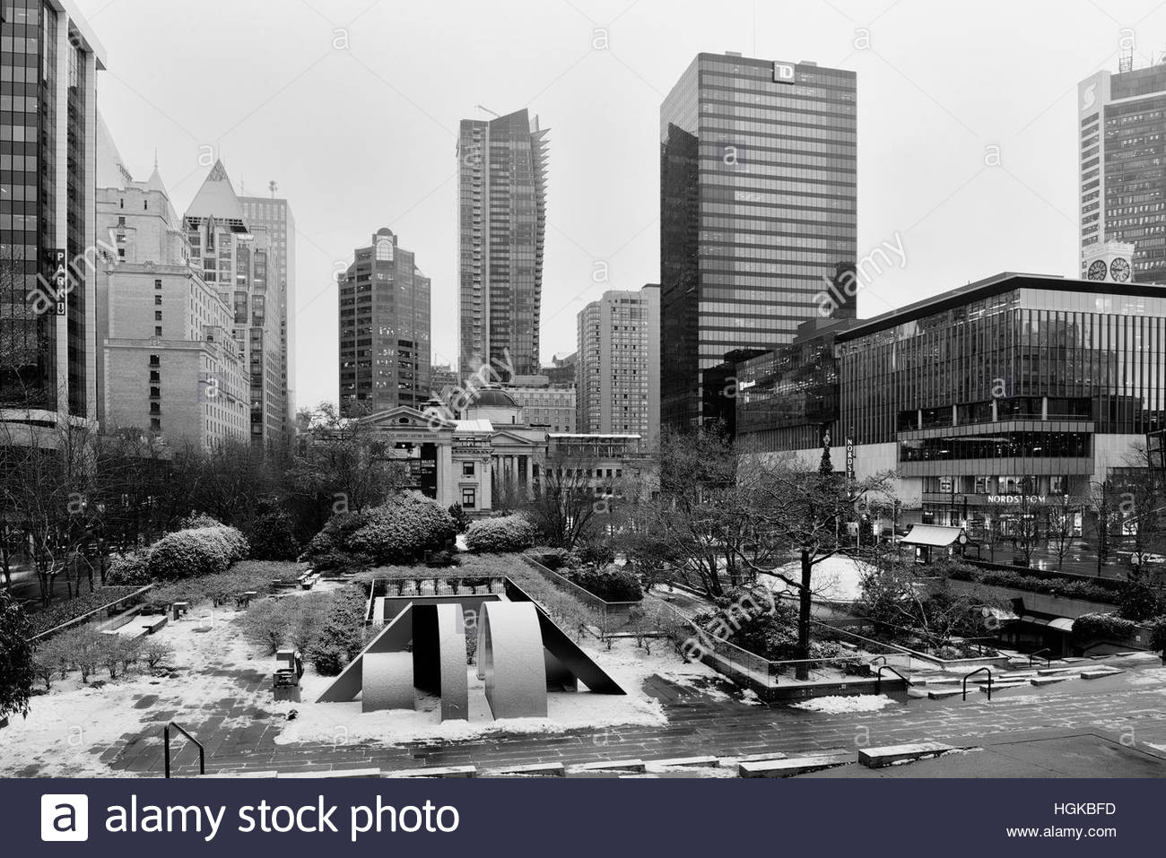Vancouver, BC, Canada - December 9, 2016 - Cityscape showing TD Bank tower and Vancouver Art Gallery.  Photo: © - Stock Image