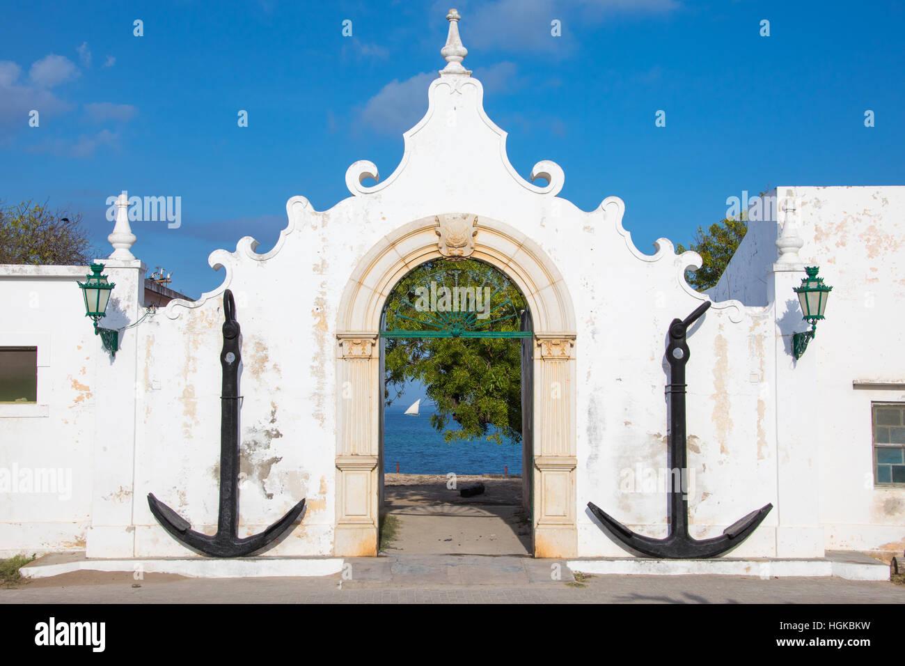 Former Portuguese Port Authority on Mozambique Island (Ilha de Mocambique), Mozambique - Stock Image