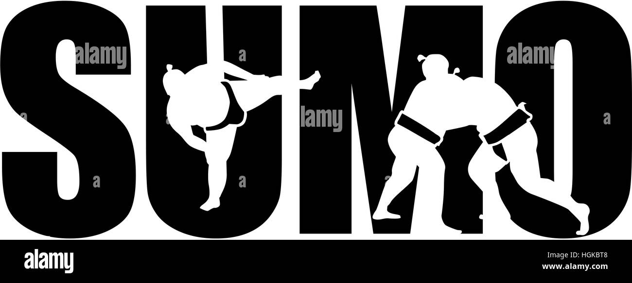 Sumo word with cutouts - Stock Image