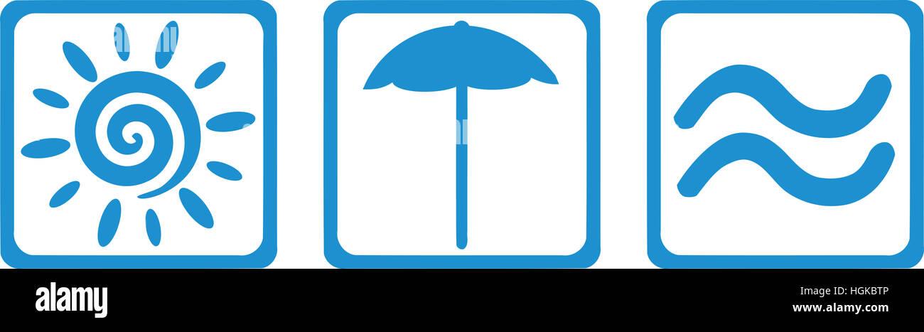 Sun, parasol and sea - summer getaway - Stock Image