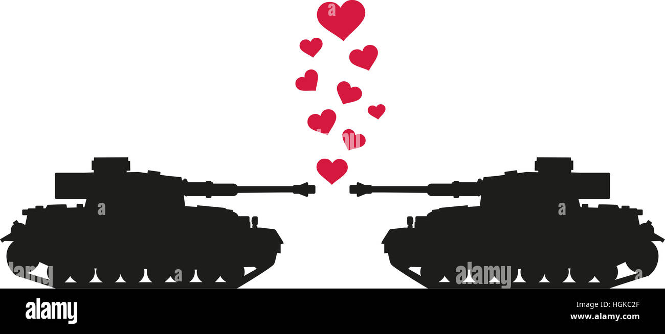 Tanks shooting love hearts - Stock Image