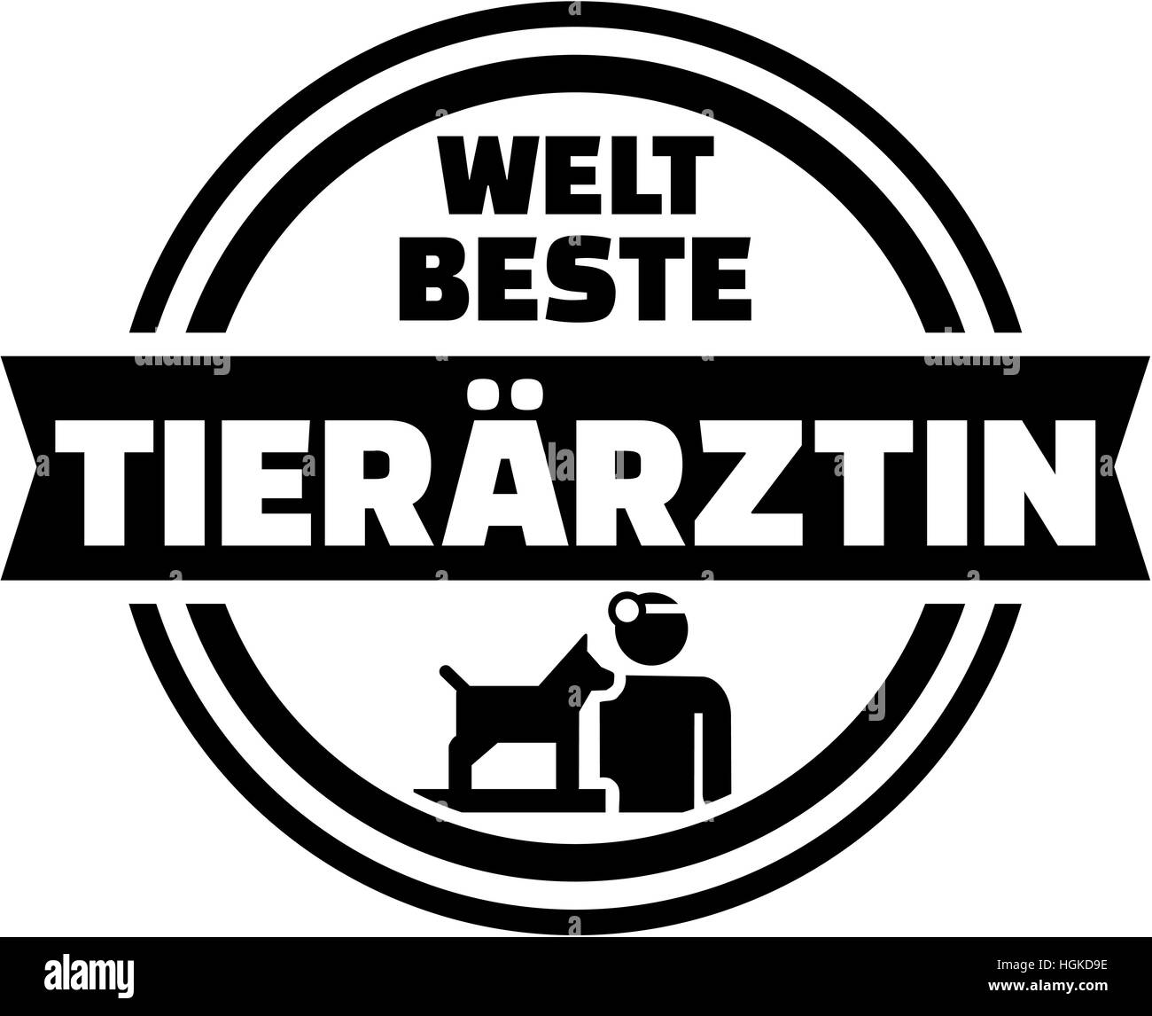 World's best female Veterinarian. German button. - Stock Image