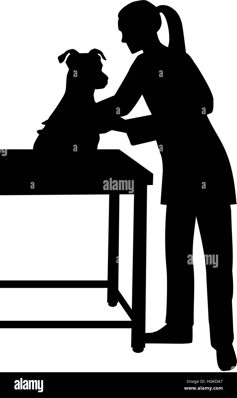 Female Veterinarian with dog silhouette - Stock Image