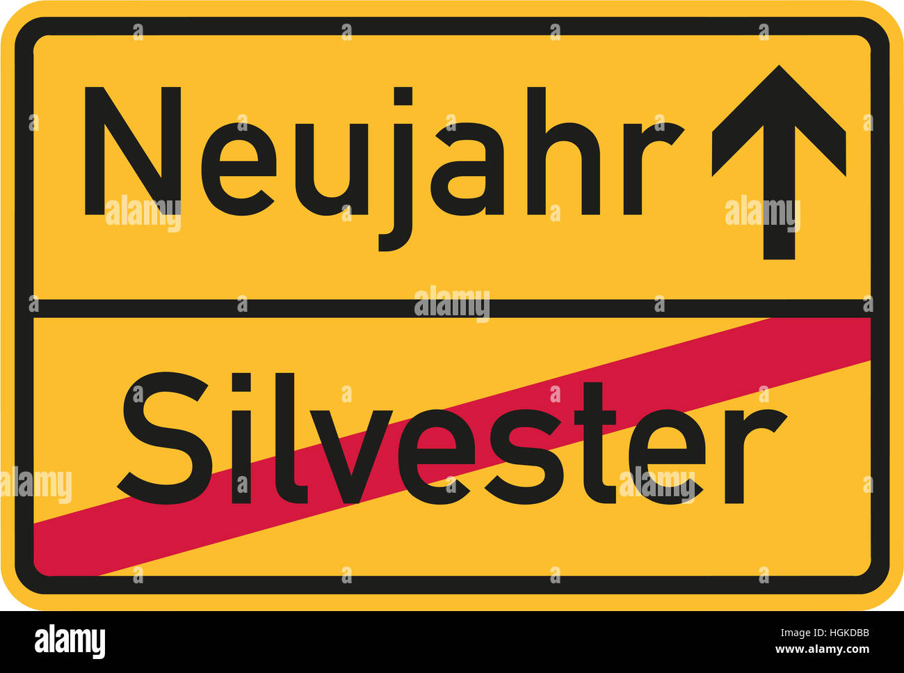From Sylvester to New year - german sign - Stock Image