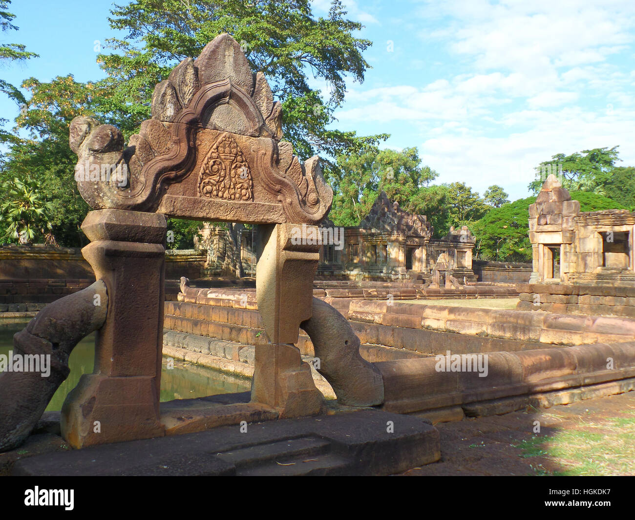 Beautiful Ancient Arch of the Pond in Prasat Hin Muang Tam Temple Complex, Buriram Province, Thailand - Stock Image