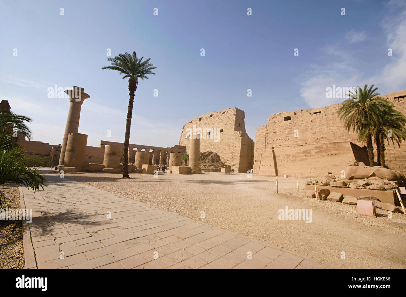 Inner view of Karnak Temple complex, Comprises a vast mix of decayed temples, chapels, pylons and other buildings, - Stock Image