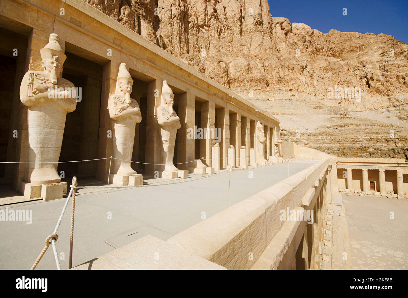 Outer view of the Mortuary Temple of Hatshepsut, Is an ancient funerary shrine, Dedicated to the sun god Amon,  - Stock Image