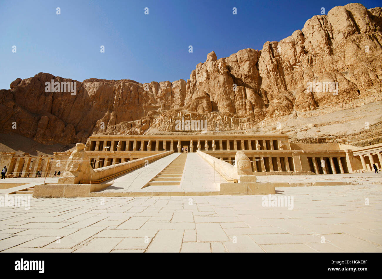 The Mortuary Temple of Hatshepsut, Is an ancient funerary shrine, Dedicated to the sun god Amon,  Located on the - Stock Image