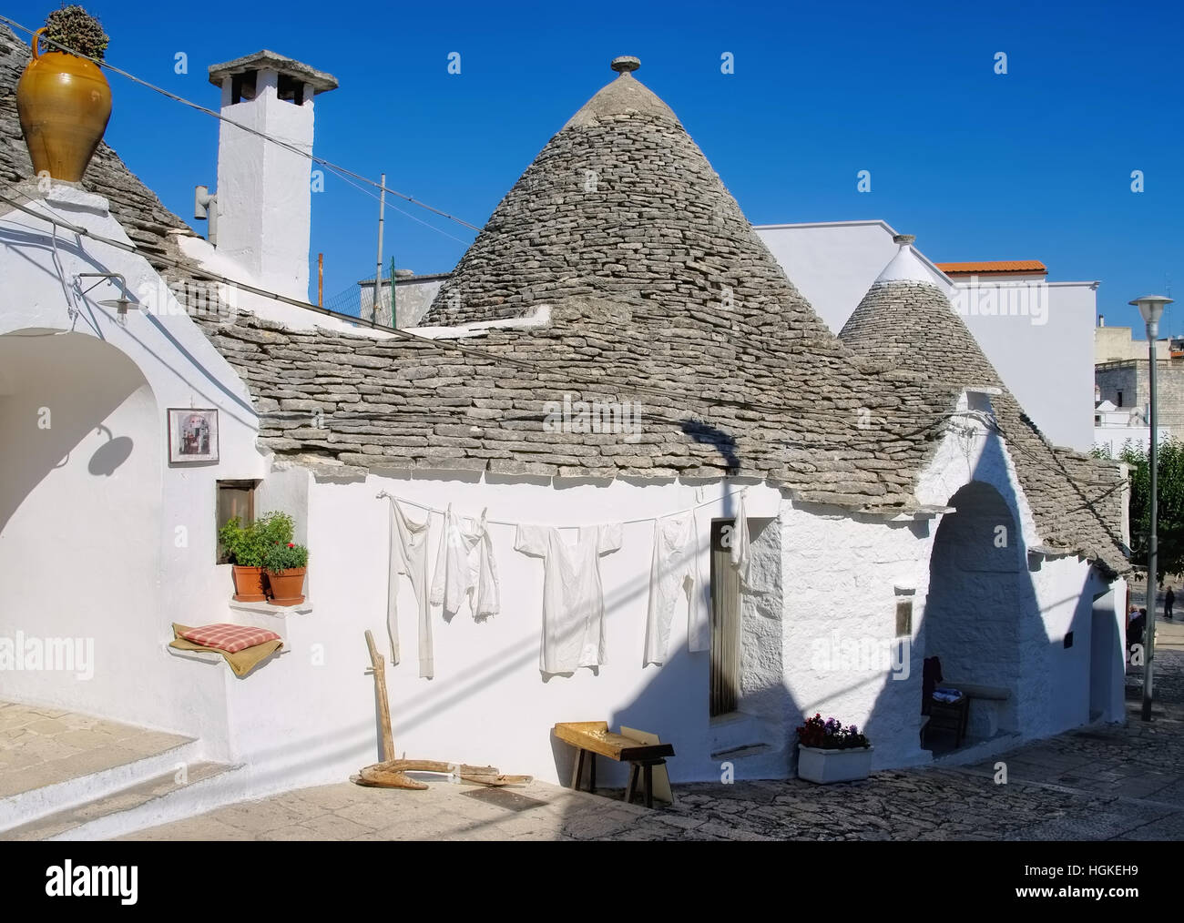 Trulli Häuser In Alberobello, Italien   Stone Trulli Cottages In  Alberobello, Italy   Stock