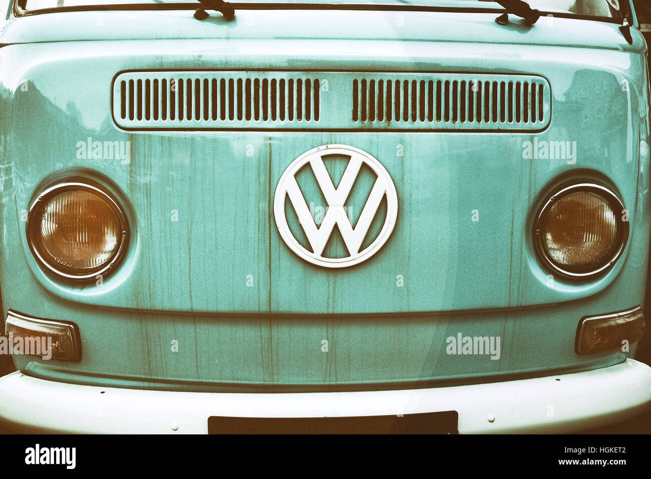 Close Up Of Front Side An Old Volkswagen Transporter Van