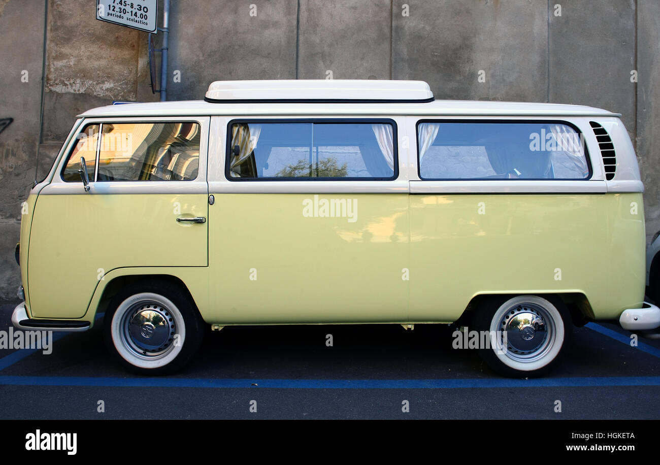 Yellow Volkswagen Van Stock Photo Alamy