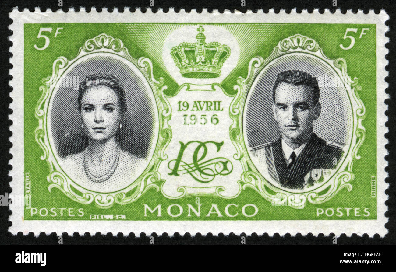 MONACO - CIRCA 1956-04-19, Grace Kelly, Prince Rainier III, crown and monogram, series - Stock Image