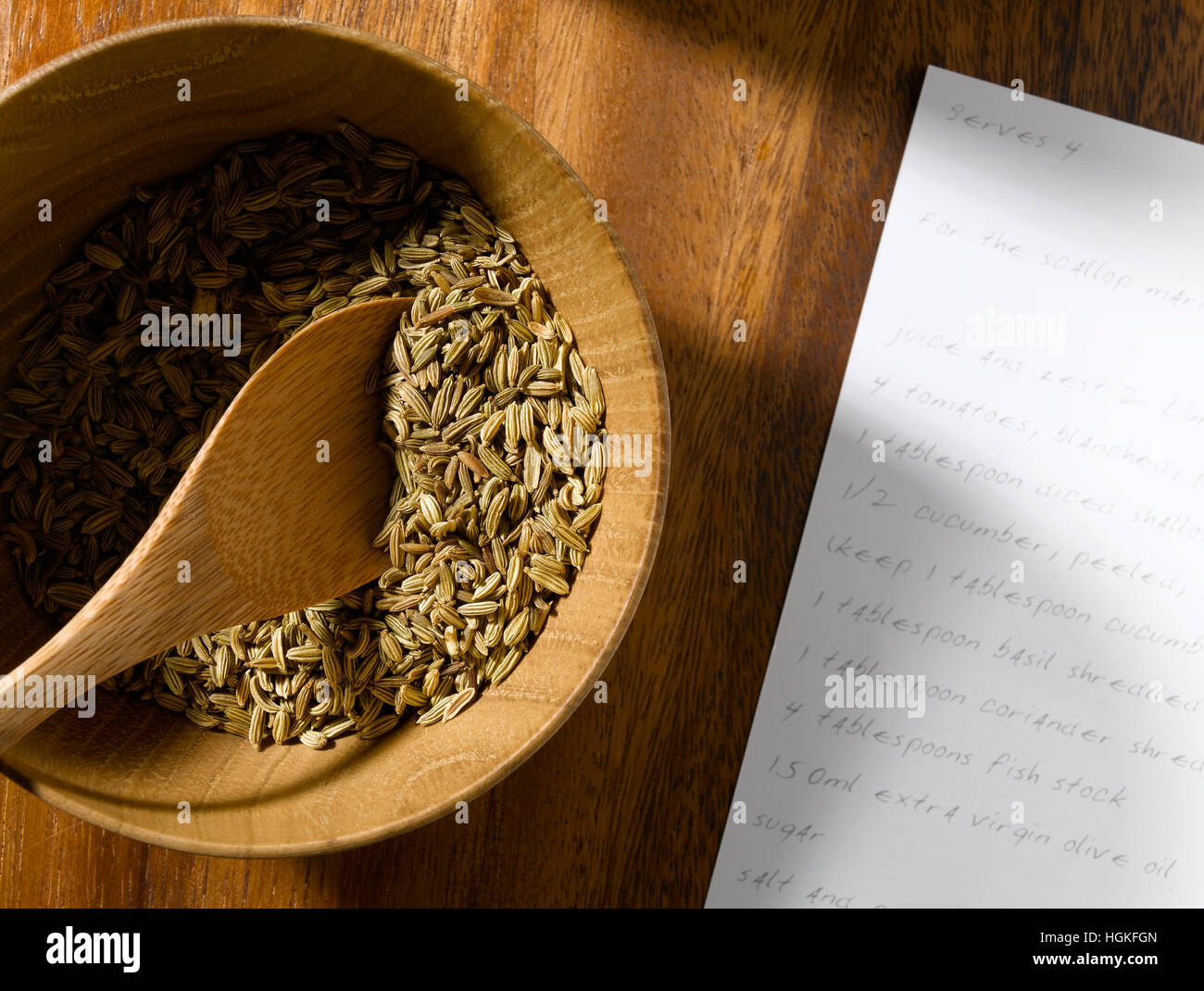 Fennel Seed a wooden background - Stock Image