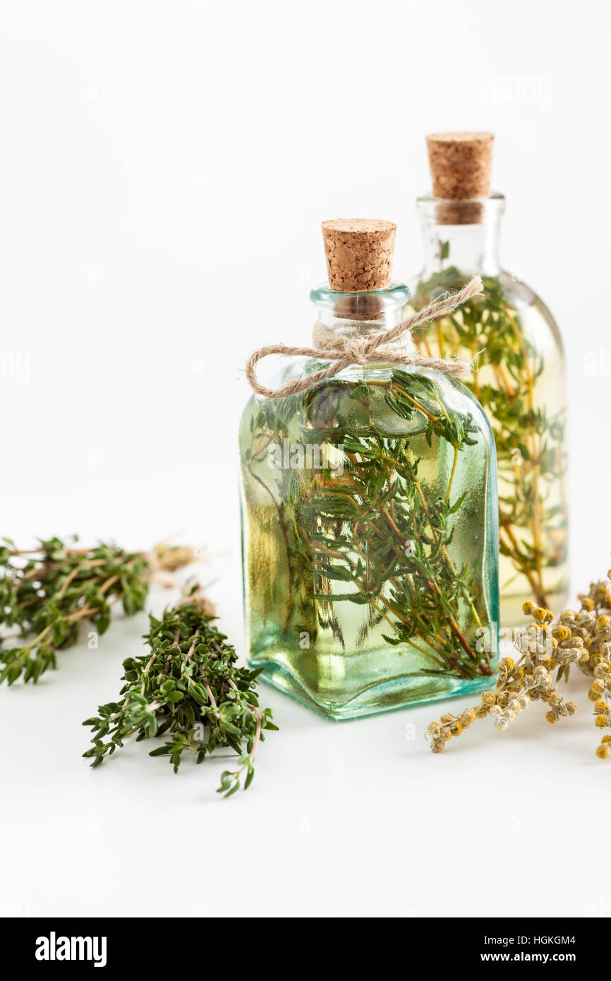 Bottles of thyme and rosemary essential oil or infusion and bunches bottles of thyme and rosemary essential oil or infusion and bunches of healthy herbs on white herbal medicine mightylinksfo