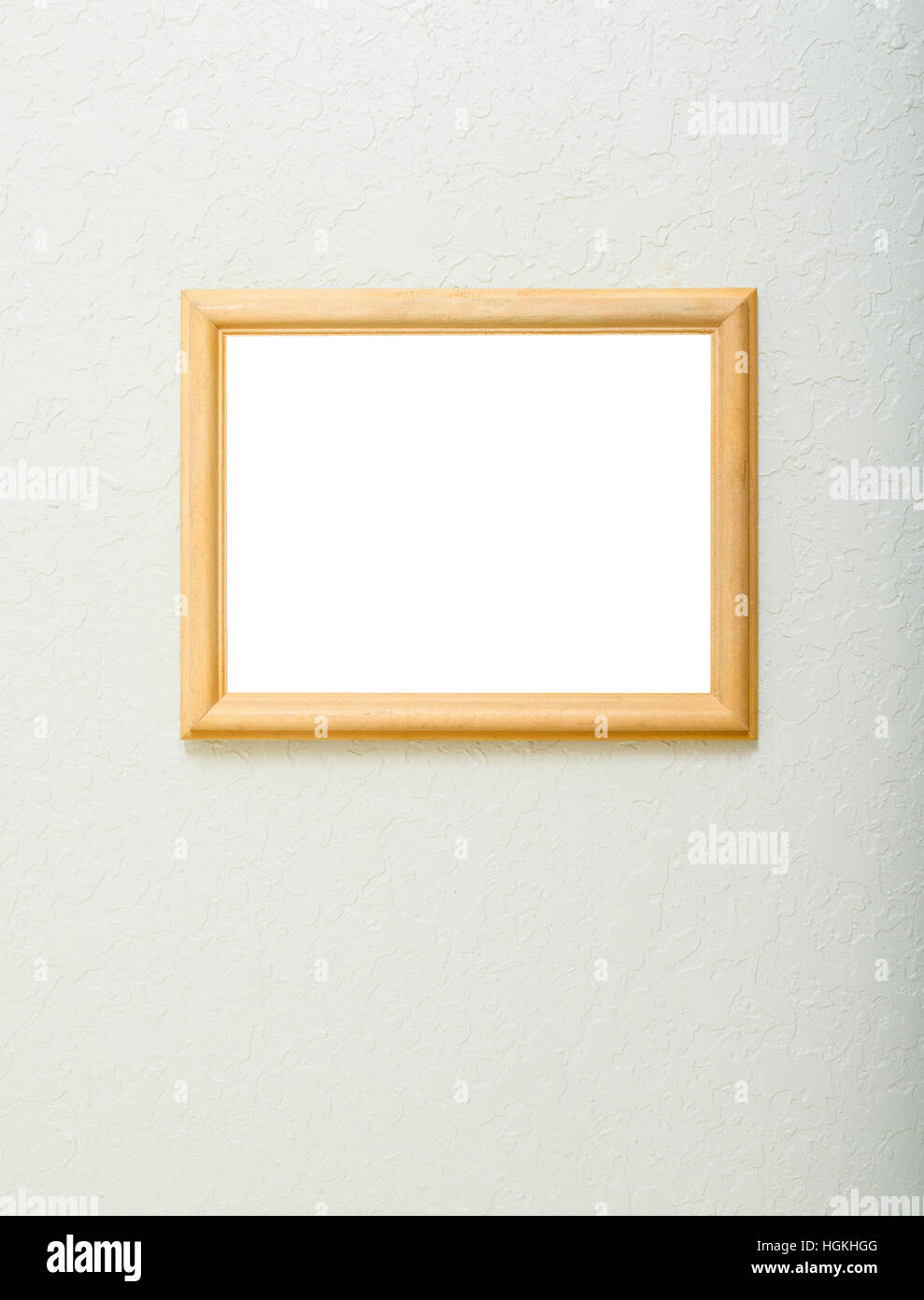 A blank wooden frame on a textured ivory background.  Room for photo or other art work in frame, with plenty of - Stock Image