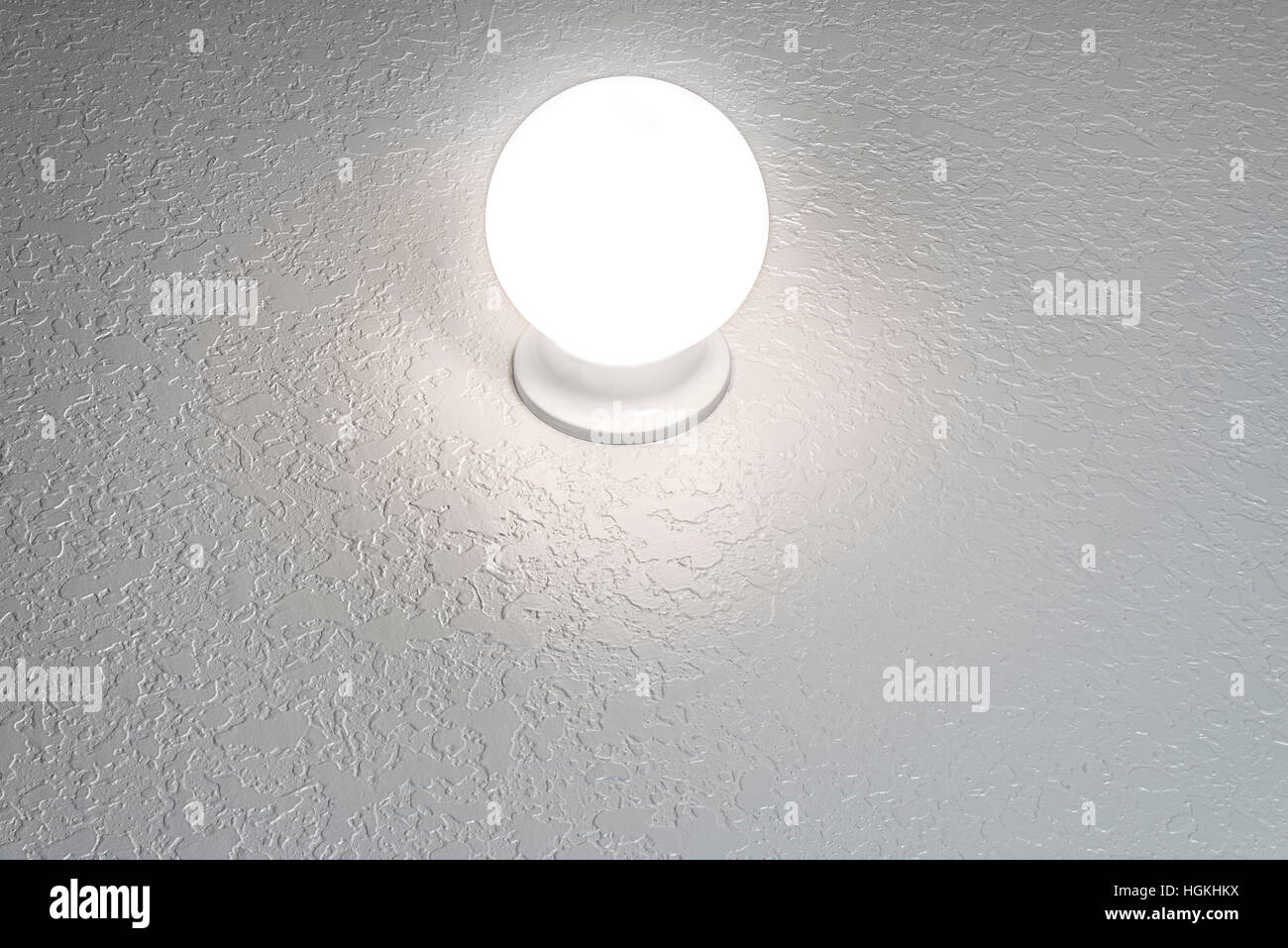Glowing crystal ball on textured background with copy space horizontal. - Stock Image