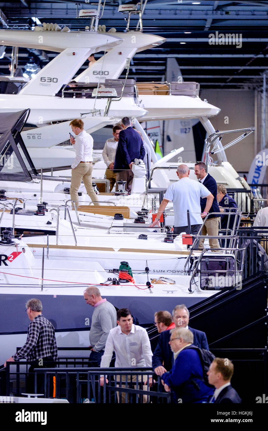 The London Boat Show on 06/01/2017 at Excel London, . Pictured: General views of the boats under the lights of the - Stock Image