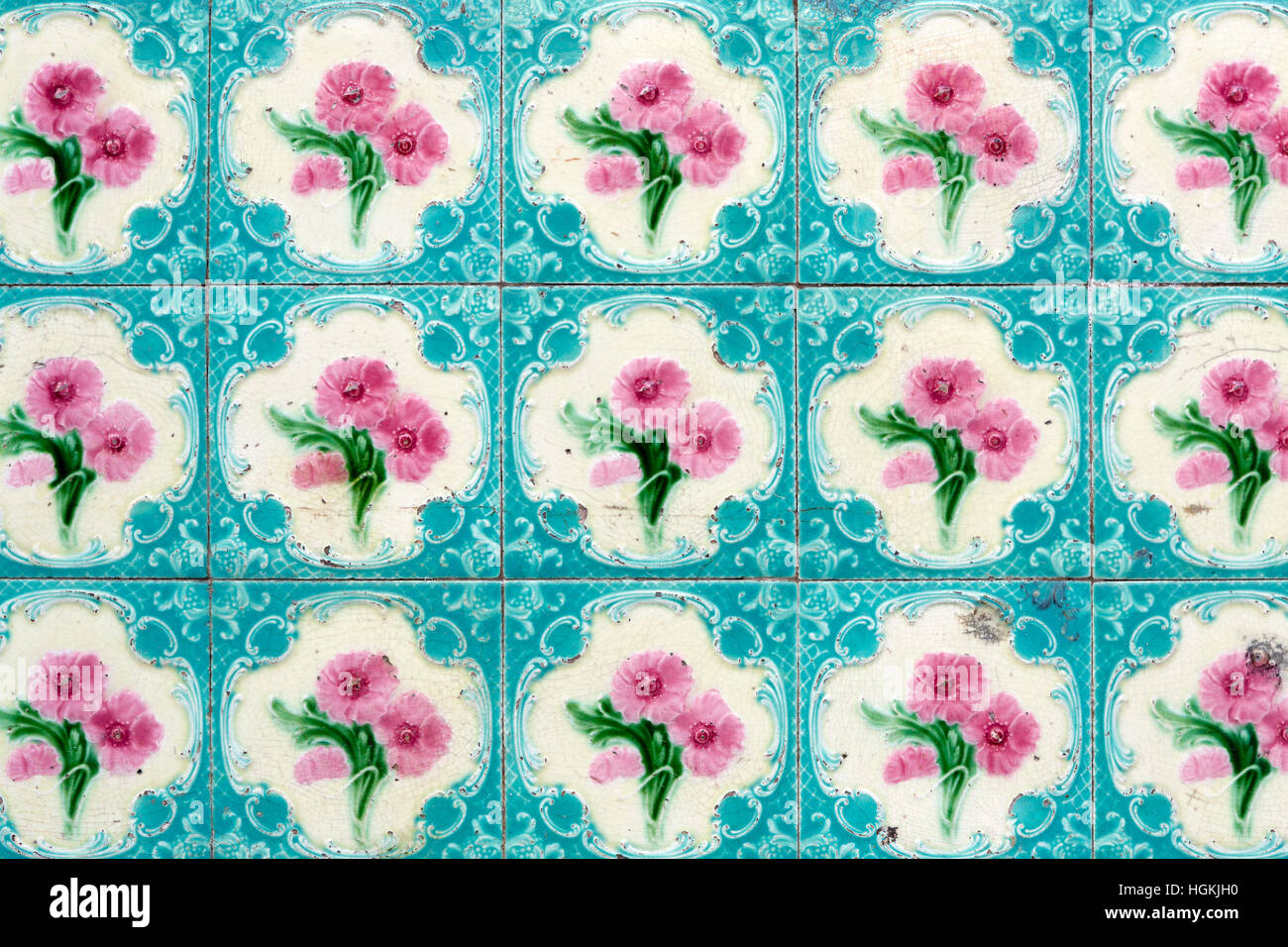 Antique ceramic Peranakan wall tile pattern on an old Sino ...