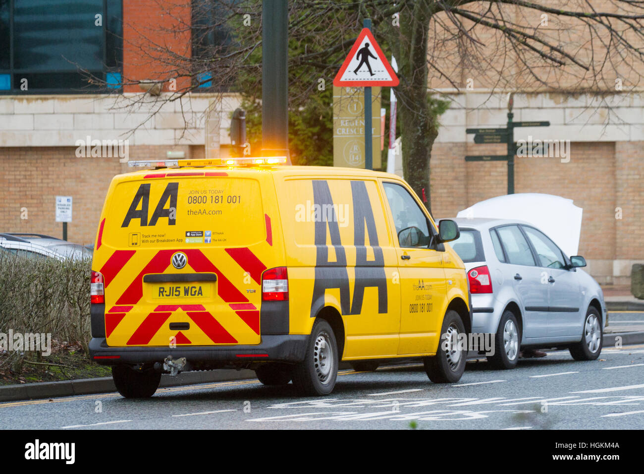 AA Repair to VW Motor vehicle, Manchester, UK - Stock Image