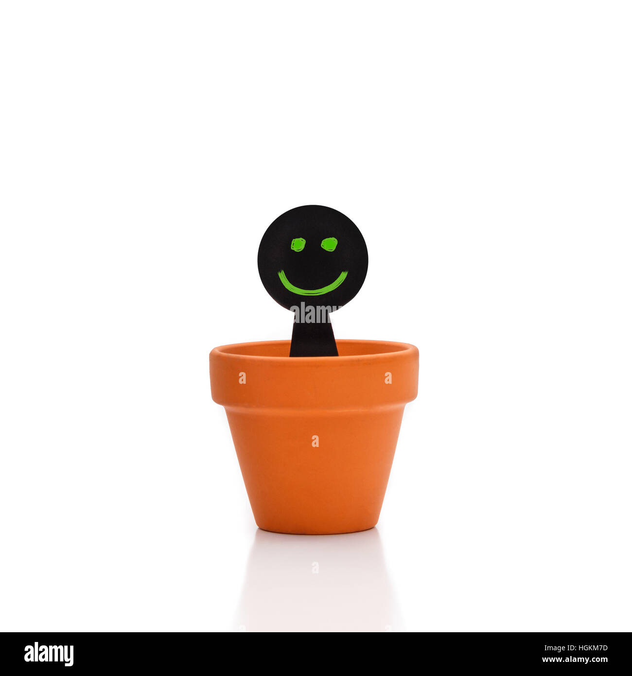 Smiling green and black puppet appears from flower pot - Stock Image