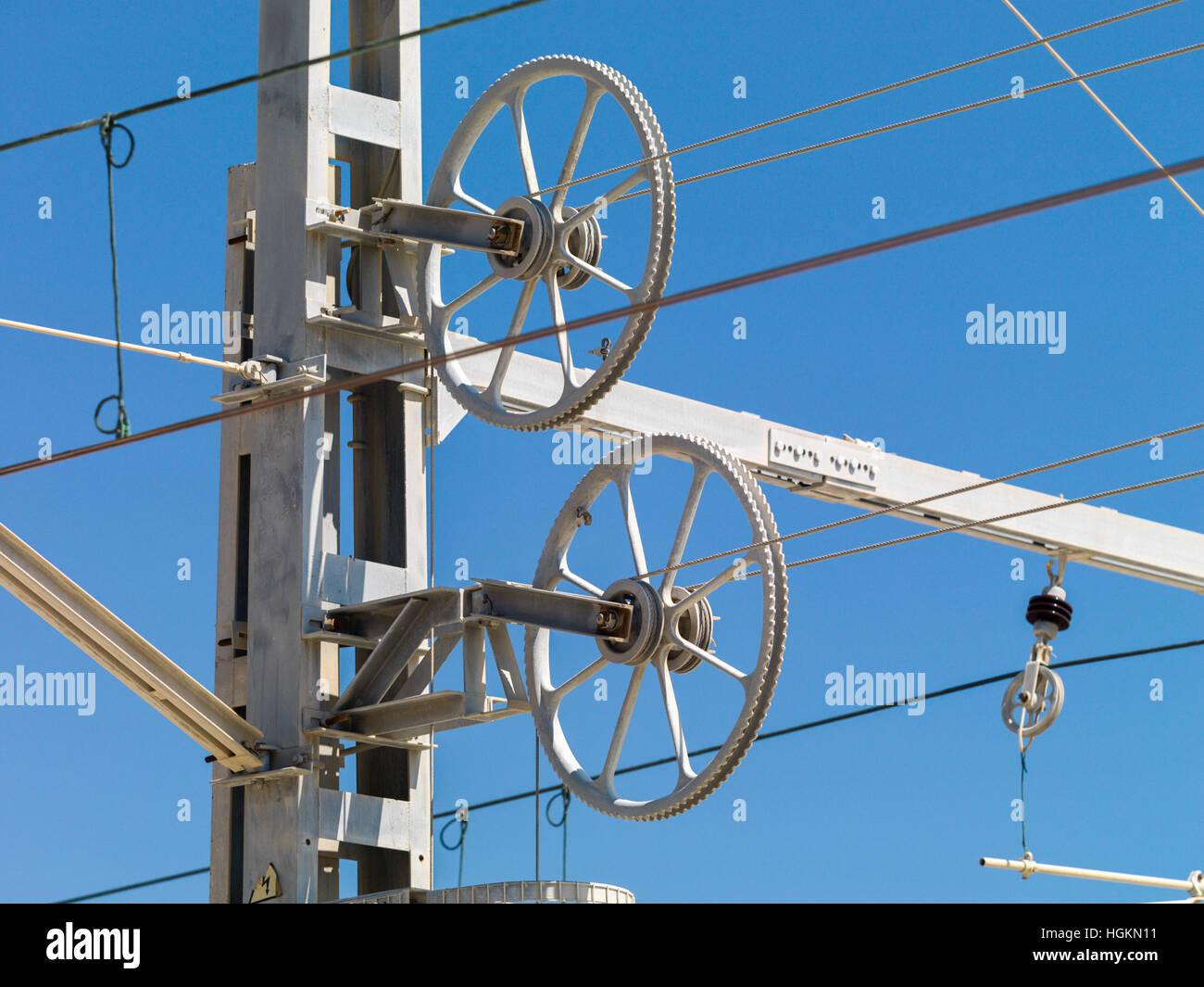 Train Catenary Stock Photo