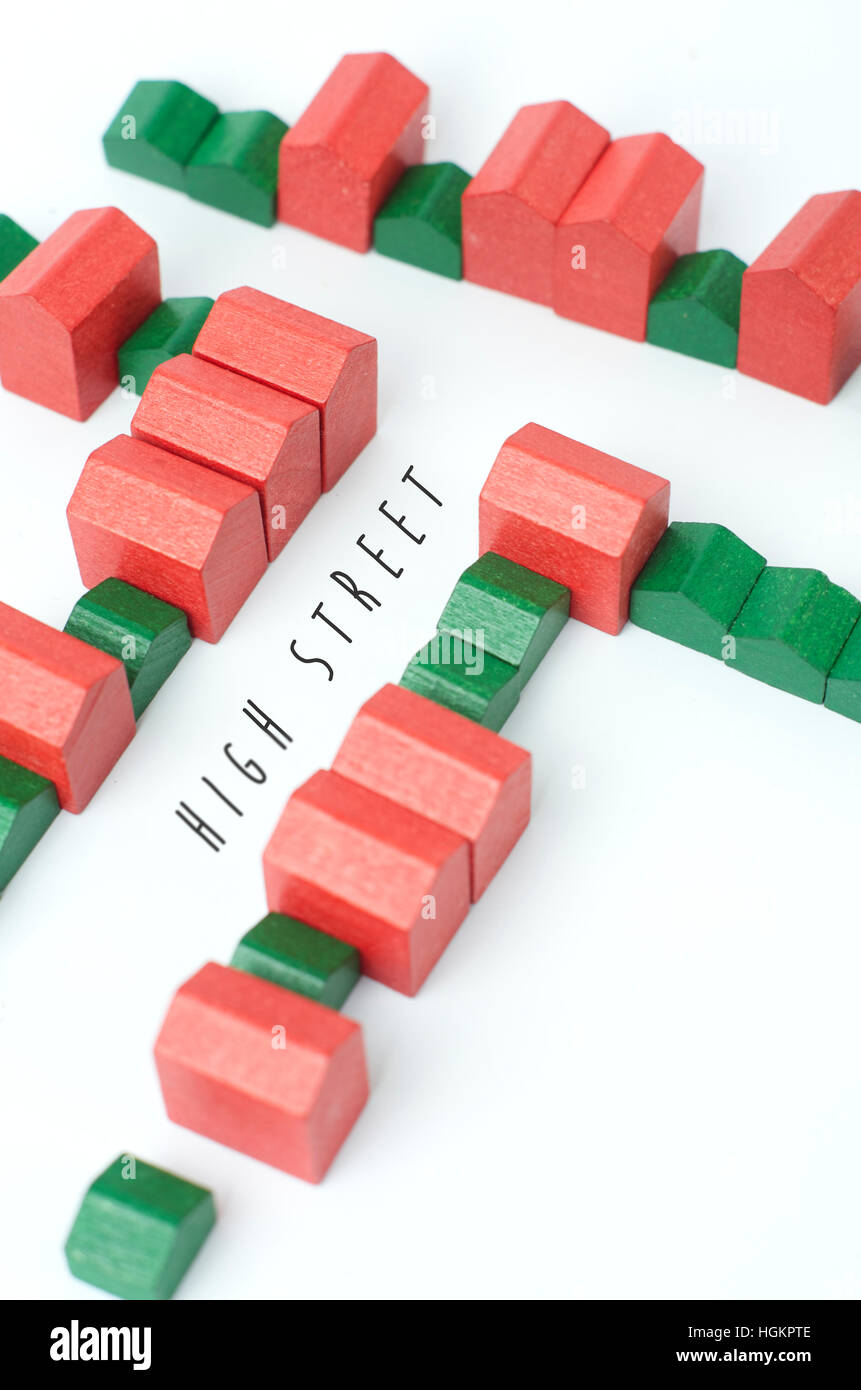 Model Town Centre Represented With Monopoly Houses And Hotels High