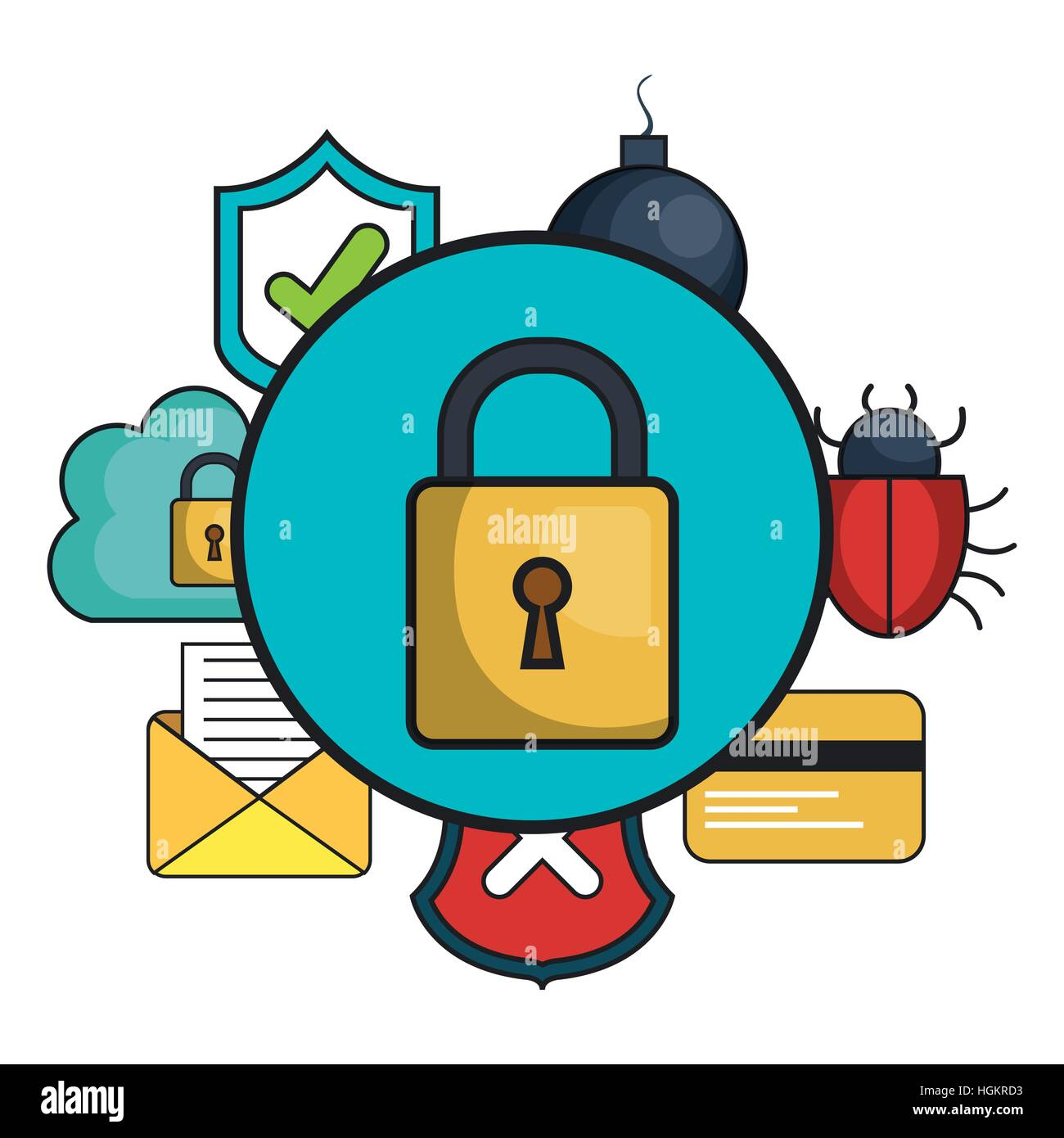 cyber security system icon vector illustration design ...