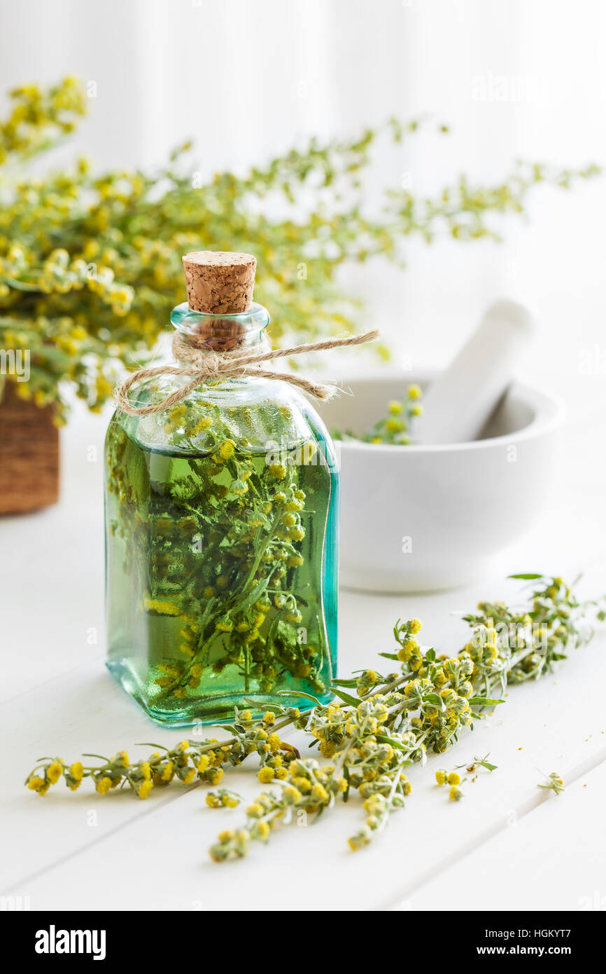 Bottle of absent or tincture of tarragon, absinthe healing herbs and mortar on white table. Herbal medicine. - Stock Image