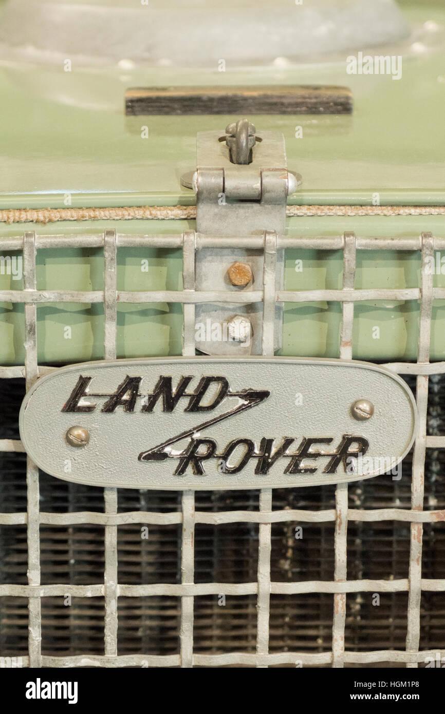 Land Rover Series One Radiator Mounted Name Badge, UK - Stock Image