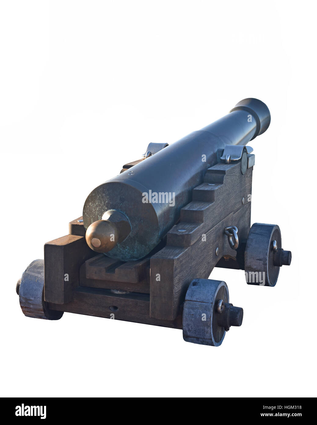 Old naval cannon isolated on white background. - Stock Image
