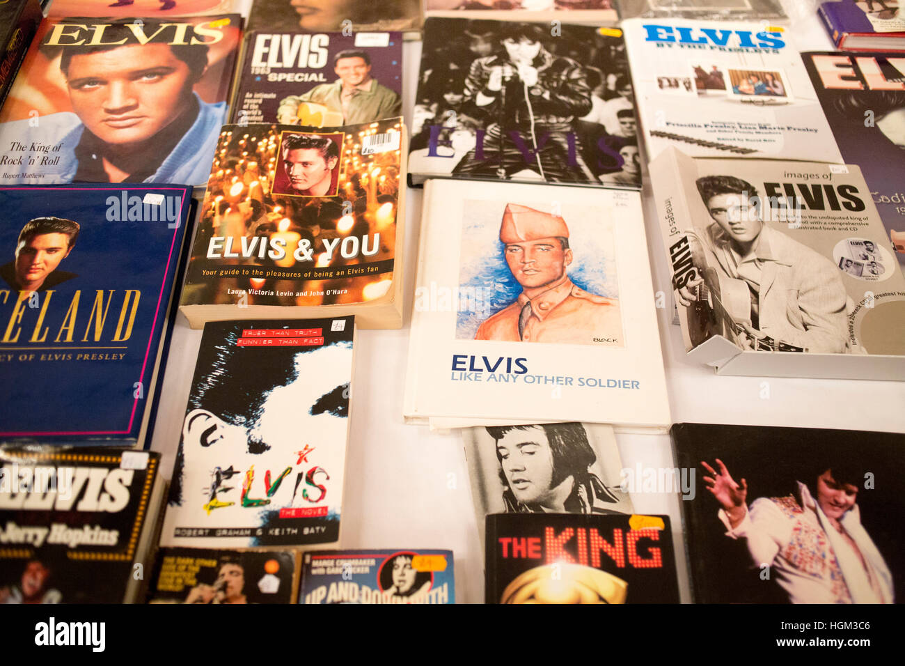 Elvis tribute contest in Birmingham. Books on display at the exhibition about Elvis - Stock Image