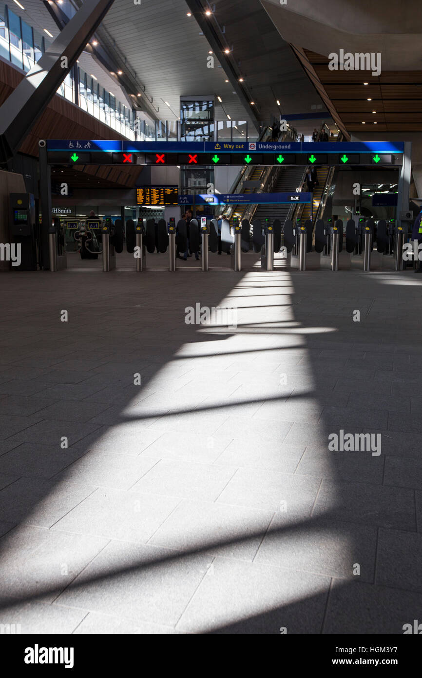 Shadows in the new London Bridge station - Stock Image